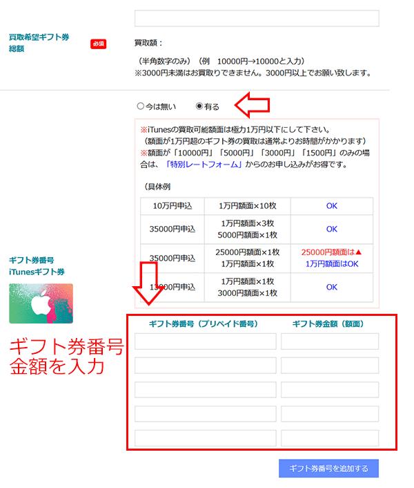 8.ギフト券番号(iTunesカードギフト券)を入力